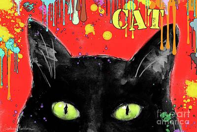 humorous Black cat painting Poster by Svetlana Novikova