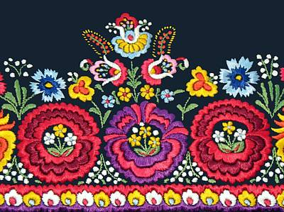 Hungarian Magyar Matyo Folk Embroidery Detail Poster by Andrea Lazar