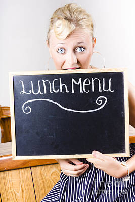 Hungry Woman Eating A Cafe Lunch Menu Poster by Jorgo Photography - Wall Art Gallery