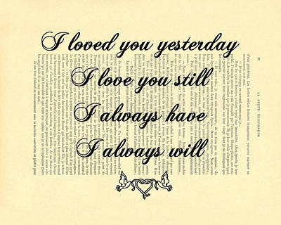 I Always Will Love You Poster by Madame Memento