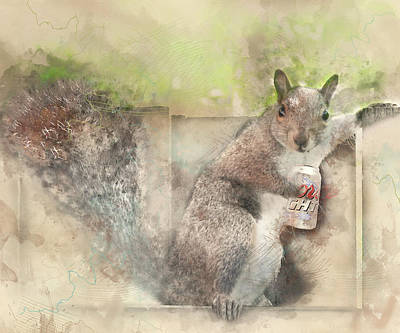 I Like My Beer Light - Squirrel With Beer Digital Watercolor Poster by Rayanda Arts
