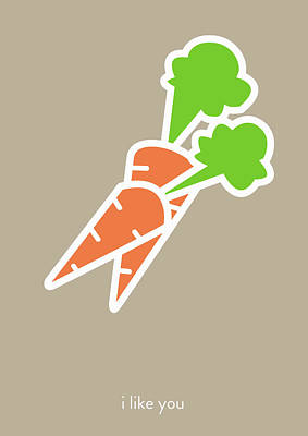 I Like You My Carrot. Poster by Lina Tumarkina