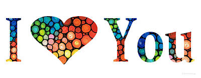 I Love You 14 - Heart Hearts Romantic Art Poster by Sharon Cummings