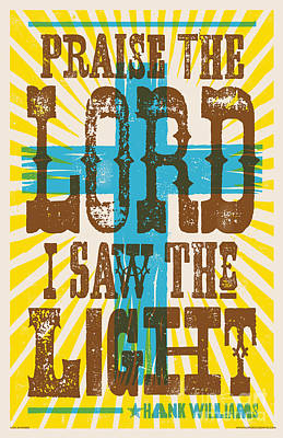 I Saw The Light Lyric Poster Poster by Jim Zahniser