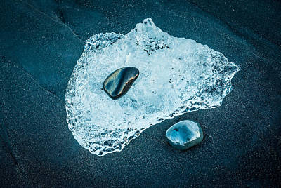 Ice And Stones - Iceland Black Beach Photograph Poster by Duane Miller