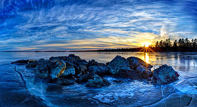 Icebound Sunset Panorama Poster by Bill Caldwell -        ABeautifulSky Photography
