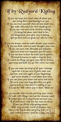 If By Rudyard Kipling - Long Parchment Style  Poster by Ginny Gaura