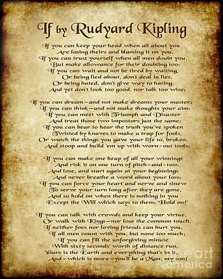 If By Rudyard Kipling - Parchment Style Poster by Ginny Gaura