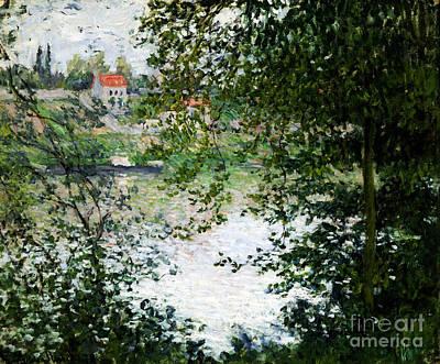 Ile De La Grande Jatte Through The Trees Poster by Claude Monet