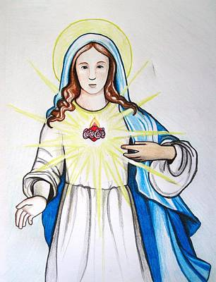 Immaculate Heart Of Mary Poster by MaryEllen Frazee