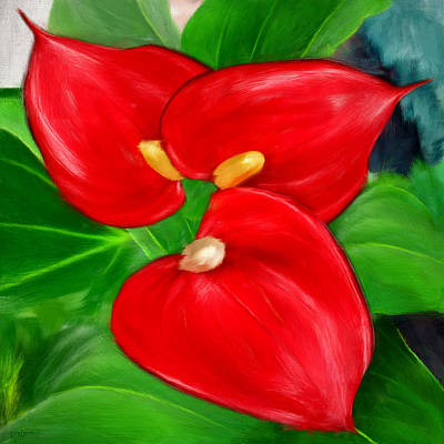 Immeasurable Beauty- Anthurium Paintings Poster by Lourry Legarde
