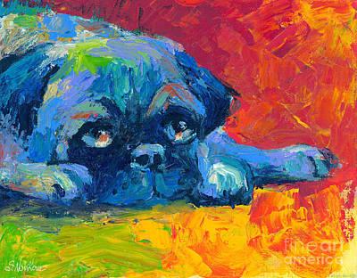 impressionistic Pug painting Poster by Svetlana Novikova