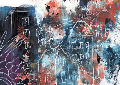 In A Northern Town- Abstract Art By Linda Woods Poster by Linda Woods