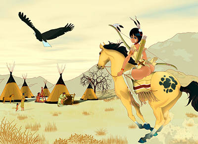 Indian On Horse Poster by Lynn Rider