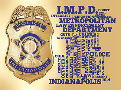 Indianapolis Metropolitan Police Department Gold Poster by Dave Lee