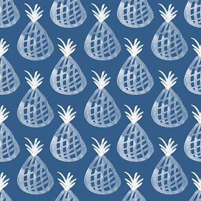 Indigo Pineapple Party Poster by Linda Woods