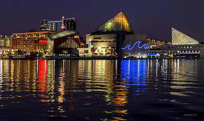 Inner Harbor After Dark Poster by Brian Wallace