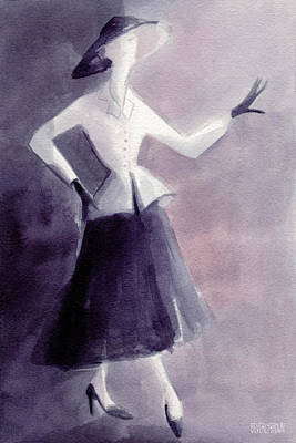 Inspired By Christian Dior Fashion Illustration Art Print Poster by Beverly Brown