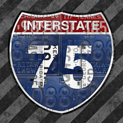 Interstate 75 Highway Sign Recycled Vintage License Plate Art On Striped Concrete Poster by Design Turnpike