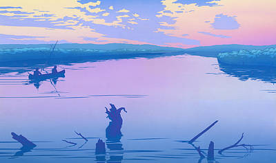 iPhone - Galaxy Case - Canoeing The River Back To Camp At Sunset Landscape Abstract  Poster by Walt Curlee