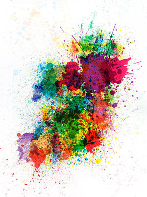 Ireland Map Paint Splashes Poster by Michael Tompsett