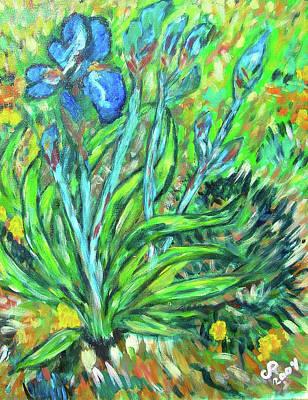 Irises Ala Van Gogh Poster by Carolyn Donnell