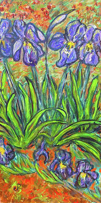 Irises In A Sunny Garden Poster by Carolyn Donnell