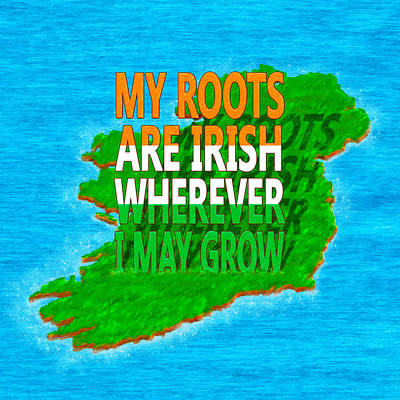 Irish Roots Typographical Art Poster by Mark E Tisdale