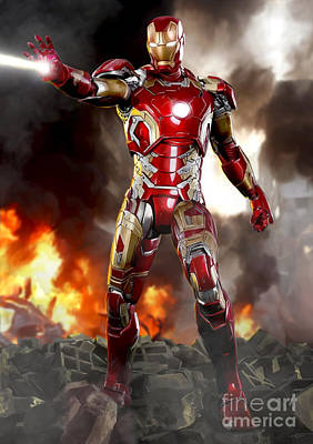 Iron Man - No Battle Damage Poster by Paul Tagliamonte