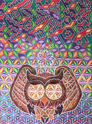 Isometric Owl Poster by Bart Van Hertum