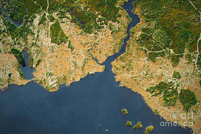 Istanbul City Topographic Map Natural Color Poster by Frank Ramspott
