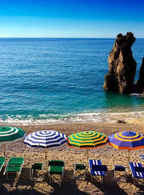 Italian Beach Scene Poster by John Wong