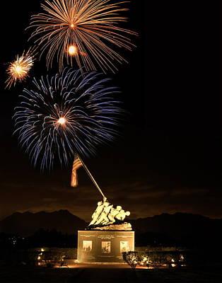 Iwo Jima Flag Raising Poster by Michael Peychich