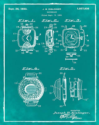 J B Kislinger Watch Patent 1933 Green Poster by Bill Cannon