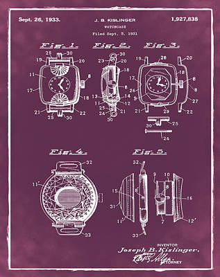 J B Kislinger Watch Patent 1933 Red Poster by Bill Cannon