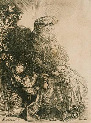 Jacob Caressing Benjamin Poster by Rembrandt