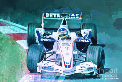 Jacques Villeneuve 2006 Bmw Sauber F1 Poster by Roger Lighterness