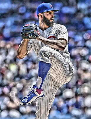 Jake Arrieta Chicago Cubs Poster by Joe Hamilton