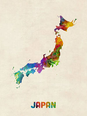 Japan Watercolor Map Poster by Michael Tompsett