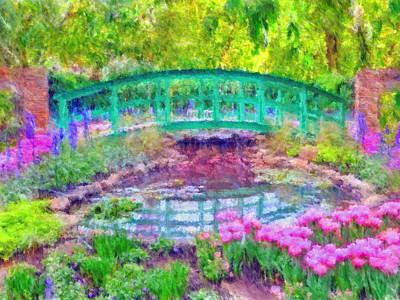Japanese Footbridge At Phipps Conservatory 2 Poster by Digital Photographic Arts