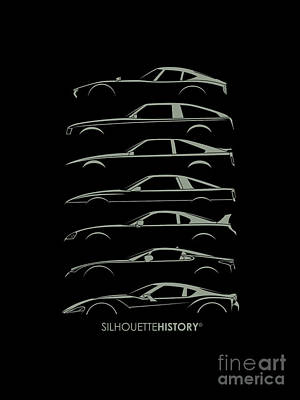Japanese Sports Car Silhouettehistory Poster by Gabor Vida