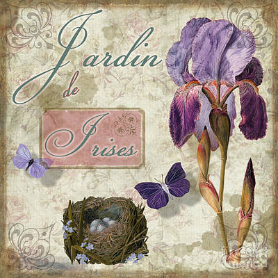 Jardin De Irises Poster by Mindy Sommers