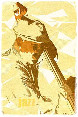 Jazz Contrabassist Poster Poster by Konstantin Sevostyanov