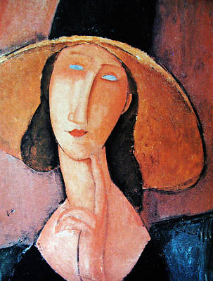 Jeanne Hebuterne In Large Hat Poster by Amedeo Modigliani