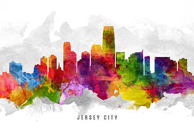 Jersey City New Jersey Cityscape 13 Poster by Aged Pixel