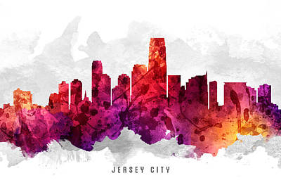 Jersey City New Jersey Cityscape 14 Poster by Aged Pixel