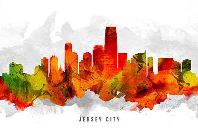 Jersey City New Jersey Cityscape 15 Poster by Aged Pixel