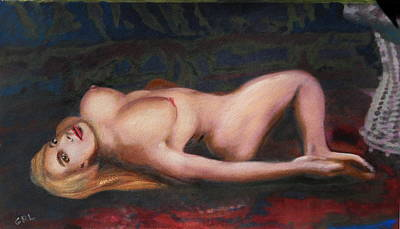 Nudes Poster featuring the painting Jess Reclining Original Fine Art Nude Multimedia Painting by G Linsenmayer