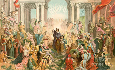 Jesus Entering Jerusalem Poster by Gustave Dore