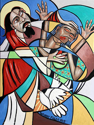 Jesus Heals The Brokenhearted Poster by Anthony Falbo
